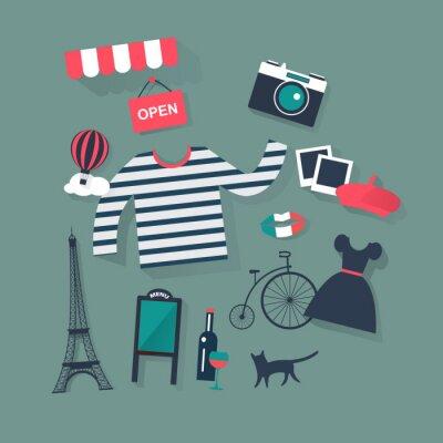 Vinilo Vacaciones y vacaciones plana vector iconos de la moda y el arte francés