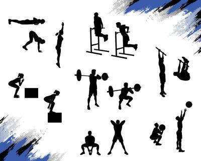 Vinilo Varias siluetas masculinas que hacen diversos ejercicios del crossfit y que se resuelven aislados en el fondo blanco. Ilustración vectorial para web e impresión.