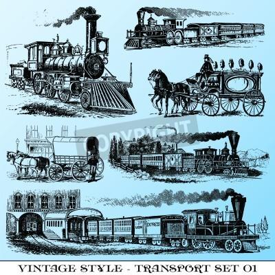 Vinilo various Vintage-style illustrations  - ancient transport set