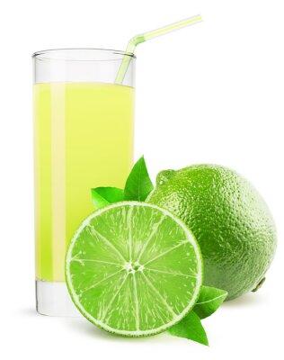 Vinilo Vaso de jugo de limón aisladas sobre fondo blanco