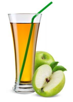 Vinilo Vaso de jugo de manzana con frutas aislados en blanco.