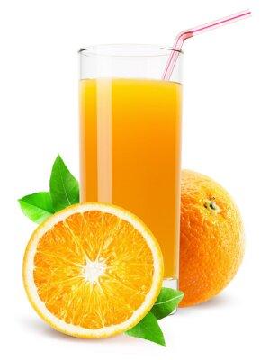 Vinilo Vaso de jugo de naranja aisladas sobre fondo blanco