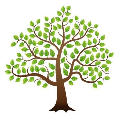 Vinilo Vector árbol verde sobre fondo blanco