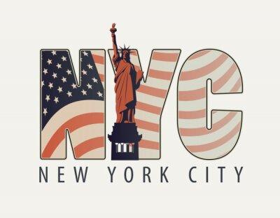 Vinilo Vector banner con las letras de Nueva York con la imagen de la bandera estadounidense y la Estatua de la Libertad sobre fondo claro