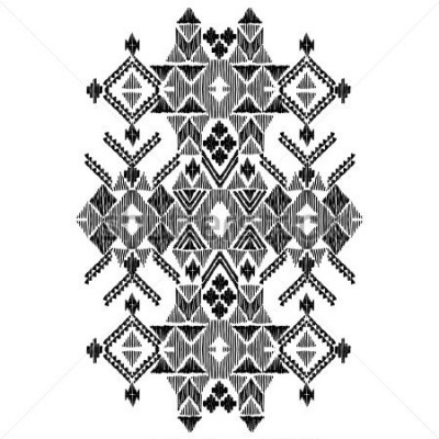 Vinilo Vector black and white decorative ethnic pattern. American indian motifs. Hand drawn background, aztec tribal ornament. Print for fashion, textile, paper and cover. Line illustration