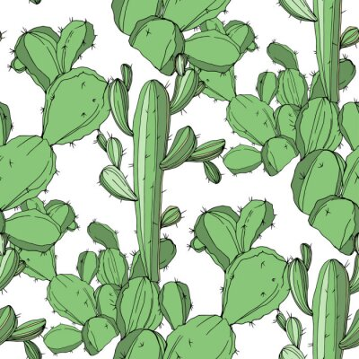 Vinilo Vector Cactus. Arte de tinta verde grabado. Patrón de fondo transparente. Textura de impresión de papel tapiz de tela.