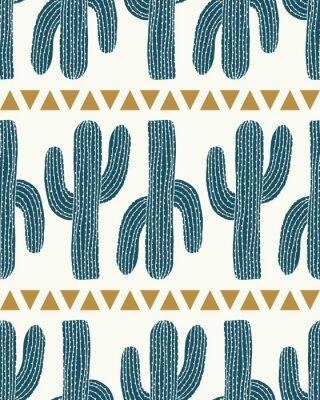 Vinilo Vector cactus raya y triángulos crema sin fisuras repetir patrón de fondo