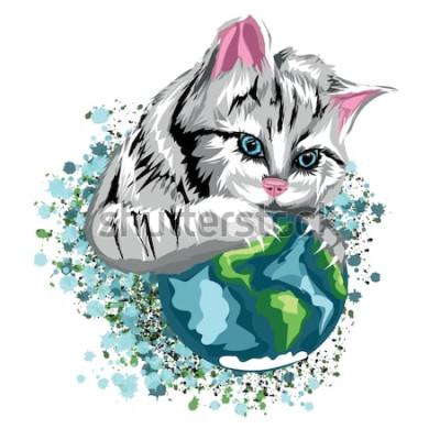Vinilo Vector cat ecológico del mundo con el planeta felino y manchas de nieve, gato gris con ojos azules.