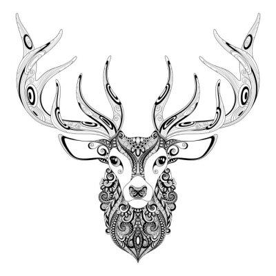 Vinilo Vector Ciervo adornado cabeza de cuernos