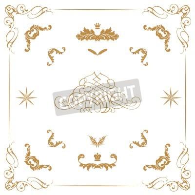 Vector conjunto de elementos decorativos horizontales for Conjunto de espejos decorativos