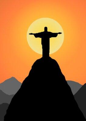 Vinilo Vector: Cristo el redentor de vectores de fondo