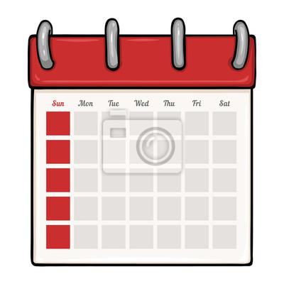 Calendario En Blanco.Vinilo Vector De Dibujos Animados De Hojas Sueltas Calendario Blanco