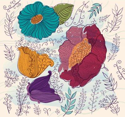 Vinilo Vector de fondo con bellas flores y hojas de colores