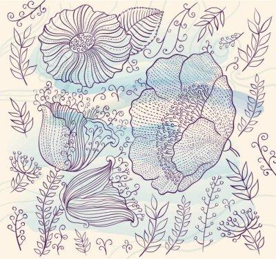 Vinilo Vector de fondo con hermosas flores y hojas