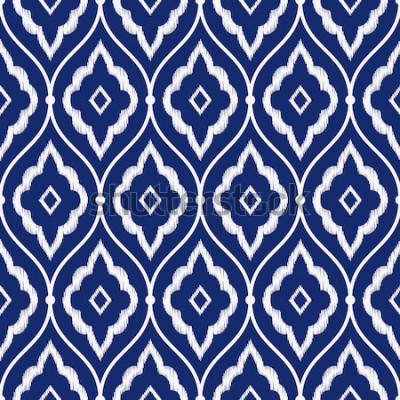 Vinilo Vector de patrón de ikat persa vintage índigo azul y blanco de porcelana sin costura