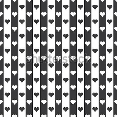 Vinilo Vector de patrón de rayas y corazones blanco y negro sin costura