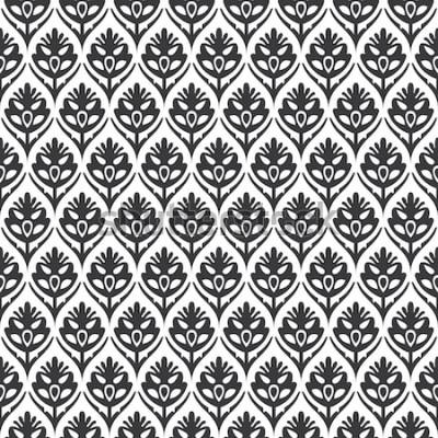 Vinilo Vector de patrón medieval ogee floral vintage blanco y negro sin costura
