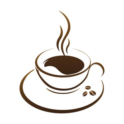 Vinilo Vector de taza de café caliente