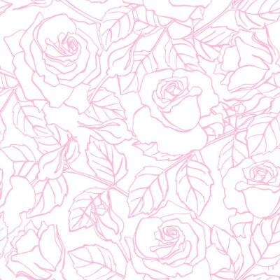 Vinilo Vector delicada línea Modelo color de rosa.