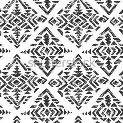 Vinilo Vector dibujado a mano de patrones sin fisuras étnicas con elementos abstractos tribales en estilo de dibujo doodle blanco negro