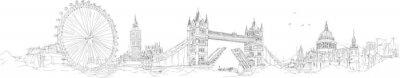 Vinilo Vector dibujo a mano dibujo panorámica londres silueta