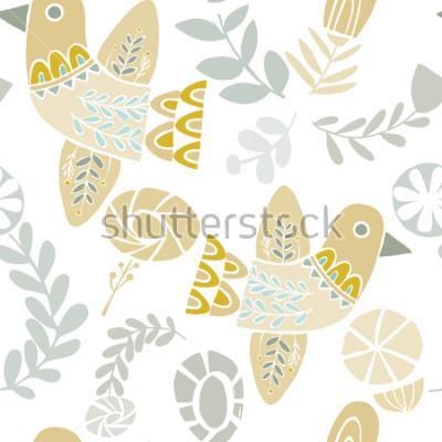 Vinilo Vector el modelo de folclórico en colores pastel de los pájaros y de las flores en un fondo blanco. Ideal para manualidades, telas, papel de regalo, papel pintado.