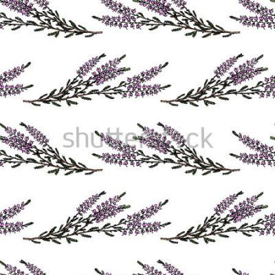 Vinilo Vector el modelo específicamente con las ramas dibujadas mano del brezo. Hermosos elementos de diseño floral, perfectos para estampados y estampados.