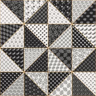 Vinilo Vector el modelo inconsútil abstracto del remiendo de triángulos beige negros y ligeros con los ornamentos florales de encaje, las flores color de rosa estilizadas y las hojas. Línea fina de contorno