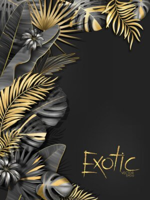 Vinilo Vector exotical background with black and gold tropical leaves on dark gray background. Luxury exotic botanical design for spa, perfume,cosmetics, aroma, beauty salon etc.