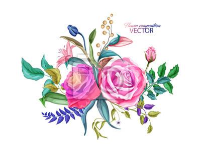 Vinilo Vector flor de lirio rosa, hojas ramo patrón