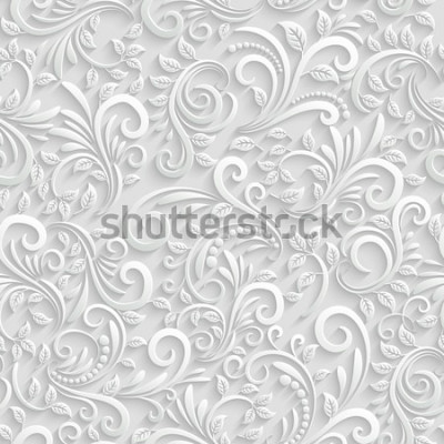 Vinilo Vector floral 3d sin fisuras de fondo. Para decoración de tarjetas de Navidad e Invitación