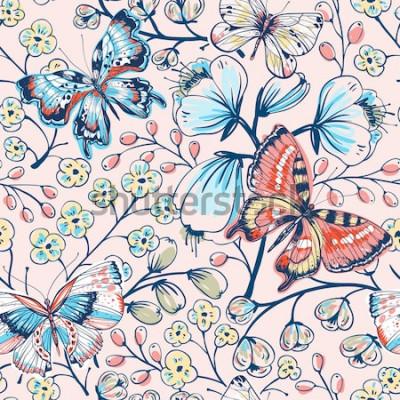 Vinilo Vector floral de patrones sin fisuras con flores y mariposas vintage