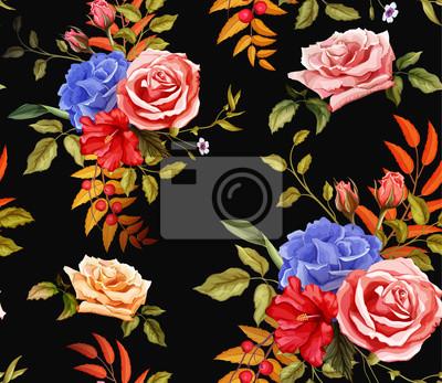 Vinilo Vector flower hibiscus rose seamless pattern