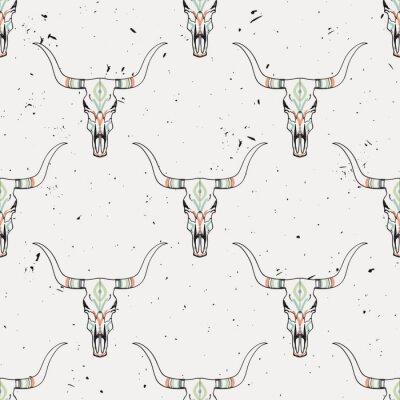 Vinilo Vector grunge patrón sin fisuras con cráneo de toro y adornos étnicos