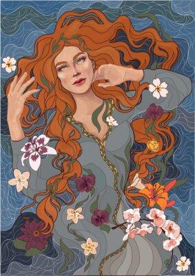 Vinilo vector hermosa chica pelirroja en un vestido pasado de moda, las olas del río, el agua y las flores