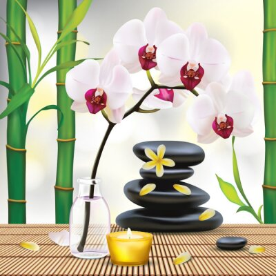 Vinilo Vector Hermosa Composición Spa Con Piedras Zen
