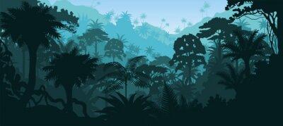 Vinilo Vector horizontal selva tropical Selva de fondo
