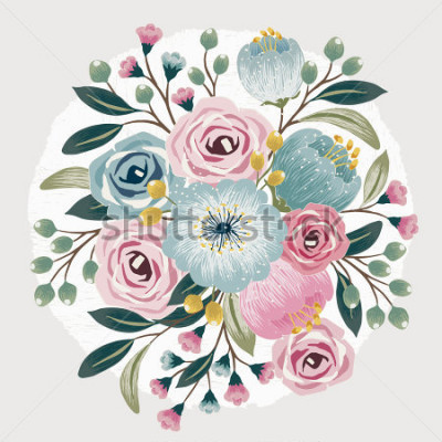 Vinilo Vector illustration of a beautiful floral bouquet with spring flowers for invitations and birthday cards