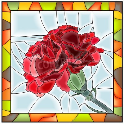 Vinilo Vector illustration of flower red carnation stained glass window with frame