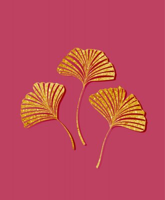 Vinilo Vector illustration of ginkgo biloba leaves. Background with golden leaves. Ginkgo branches for invitations