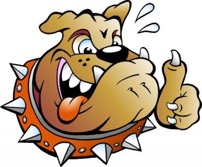 Vinilo Vector Ilustración de dibujos animados de un excitado Bull Dog dando Thumb Up