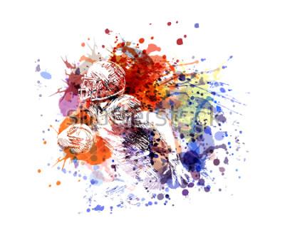 Vinilo Vector ilustración en color jugador de fútbol americano