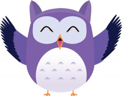 Vinilo Vector linda feliz búho púrpura