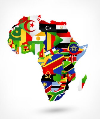 Vinilo Vector mapa de África con las banderas y la ubicación en el mapa del mundo