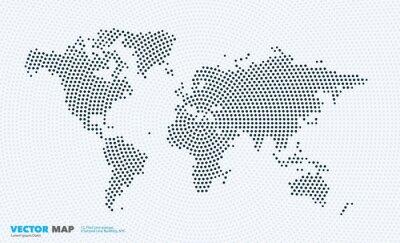 Vinilo Vector mapa del mundo con rondas, puntos, puntos para las plantillas de negocios