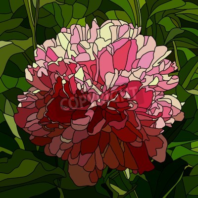 Vinilo Vector mosaic with large cells of peony with leaves on green.