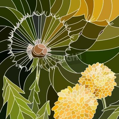 Vinilo Vector mosaico abstracto con grandes células del grupo de diente de león en verde.