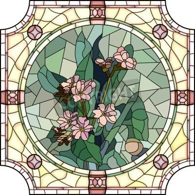 Vinilo Vector mosaico con grandes células de flores nomeolvides no con los brotes en marco redondo vidriera.
