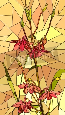 Vinilo Vector mosaico vertical con grandes células de flores columbine en amarillo.