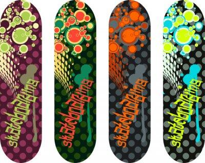 Vinilo Vector patineta de diseño pack con graffiti etiquetas y formas abstractas